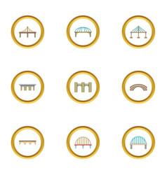 Various bridges icons set cartoon style vector