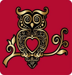 Golden owl ornament vector