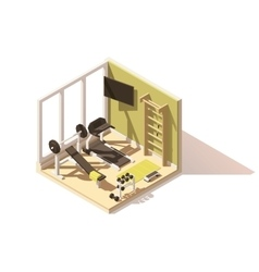 Isometric low poly gym oom icon vector