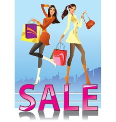 Fashion girls in sale campaign vector