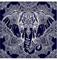 Beautiful floral paisley elephant head pattern vector