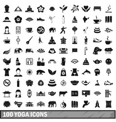 100 yoga icons set simple style vector