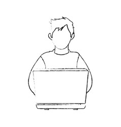 Blurred silhouette image cartoon hacker sitting at vector