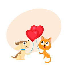 funny dog puppy and cat kitten holding heart vector image