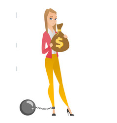 captive taxpayer holding bag with taxes vector image