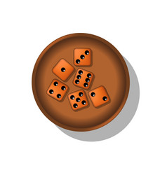 Playing dice in a cup vector