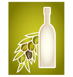 Olive oil bottle stylized as paper cut frame vector