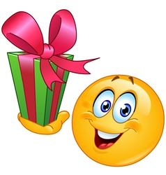 emoticon with gift vector image