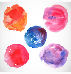Set of watercolor blobs circle design elements vector