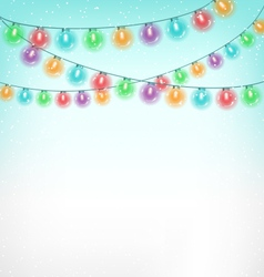 Christmas lights on sky vector