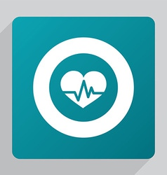 Flat heart pulse icon vector