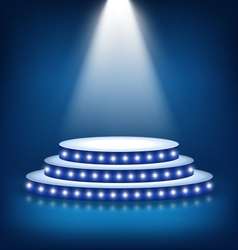 Illuminated festive stage podium with lamps on vector
