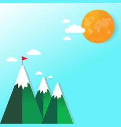 Flag on mountain success and goal business concept vector