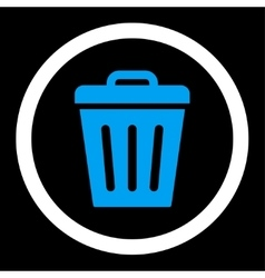 Trash can flat blue and white colors rounded vector