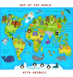 Map of world with animals vector