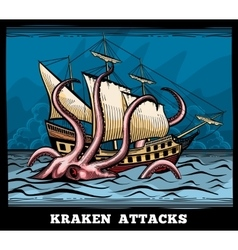Sailing vessel and kraken monster octopus vector