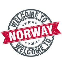 Welcome to norway red round vintage stamp vector