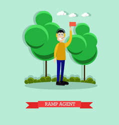 Airport ramp agent flat vector