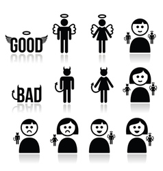 Angel devil man and woman icon set vector