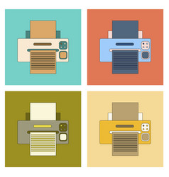 Assembly flat icon computer printer vector