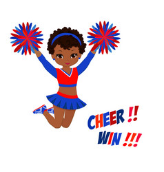 cheerleader in red blue uniform with pom poms vector image vector image