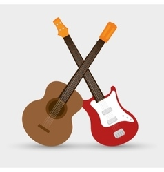 Collection electric guitar and traditional guitar vector