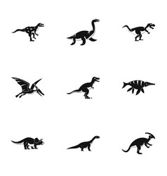 Dinosaur icons set simple style vector