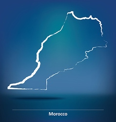 Doodle map of morocco vector