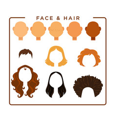 female face and hair constructor isolated vector image vector image