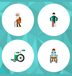 Flat icon cripple set of disabled person ancestor vector