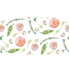 Floral summer seamless pattern pink garden rose vector