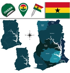 Ghana map with named divisions vector image