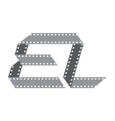 Initial e l film strip vector