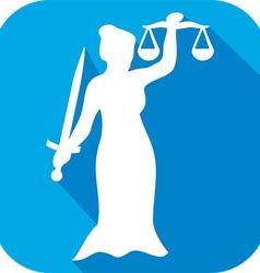 Justice statue icon vector