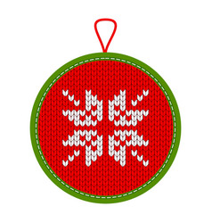 Knitted christmas decoration ornate vector