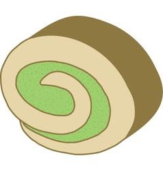 Matcha Roll Cake vector image vector image