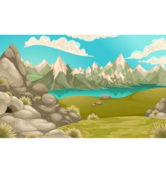 Mountain landscape with lake vector