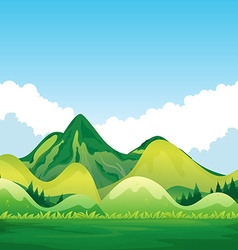 Nature with green mountain and blue sky vector