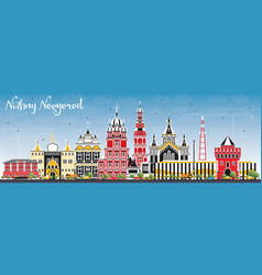 Nizhny novgorod russia city skyline with color vector