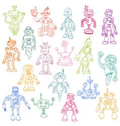 Robots Hand Drawn Doodle Set vector image