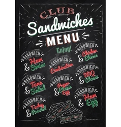 Sandwiches menu chalk color vector image vector image