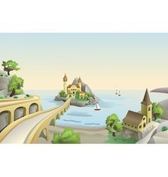 Sea landscape with bridge an vintage buildings on vector