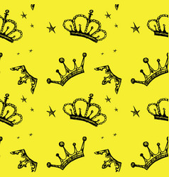 seamless pattern crown on a yellow background vector image vector image