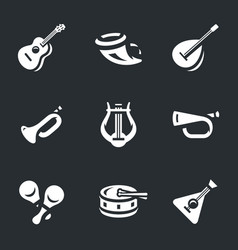 set of musical instruments icons vector image vector image