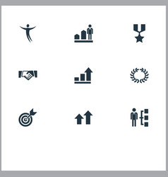 Set of simple success icons elements freeman vector