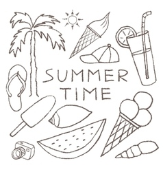 Set of summer sketches hand drawn in pencil vector