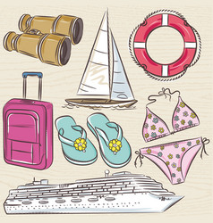set of summer symbols cruise ship boat vector image