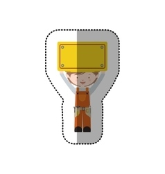 Sticker avatar worker brown hair with toolkit and vector