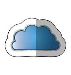 Sticker metallic cloud tridimensional in cumulus vector