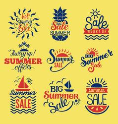 summer badge logo seasonal sale hot offer shop vector image vector image